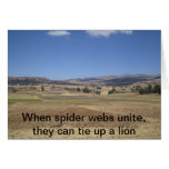 When spider webs unite, they can tie up a lion greeting card