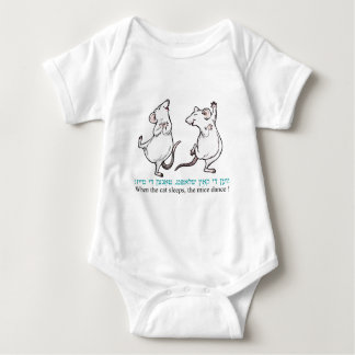 """ When the cat sleeps, the mice dance"" Baby Bodysuit"