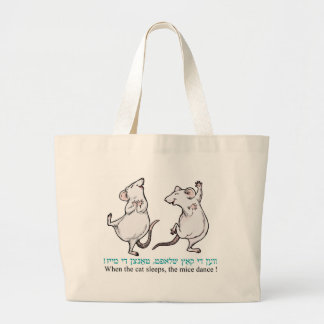 """"""" When the cat sleeps, the mice dance"""" Large Tote Bag"""