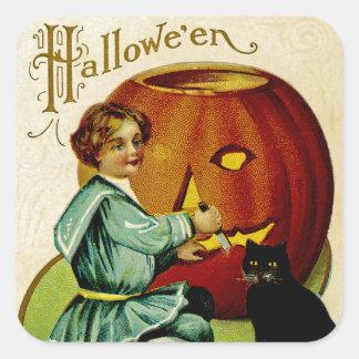 When Witches Abound at Halloween Square Sticker
