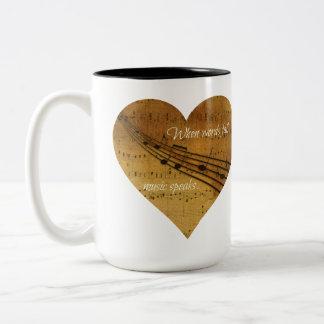 When Words Fail, Music Speaks Sheet Music Heart Two-Tone Coffee Mug