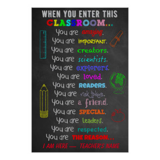 When You Enter This Classroom Rules Teacher Gift Poster