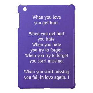 When you LOVE, you get HURT  Dark Blue Base iPad Mini Cover