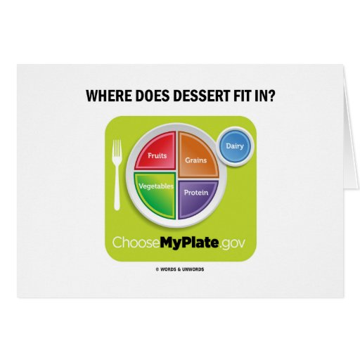 Where Does Dessert Fit In? (MyPlate Humor) Greeting Cards