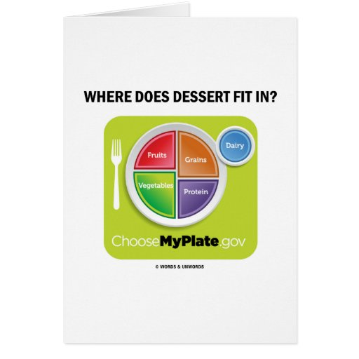 Where Does Dessert Fit In? (MyPlate Humor) Cards