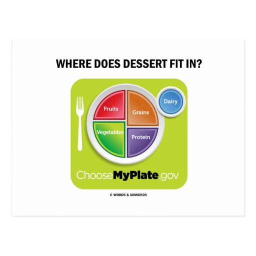 Where Does Dessert Fit In? (MyPlate Humor) Postcards
