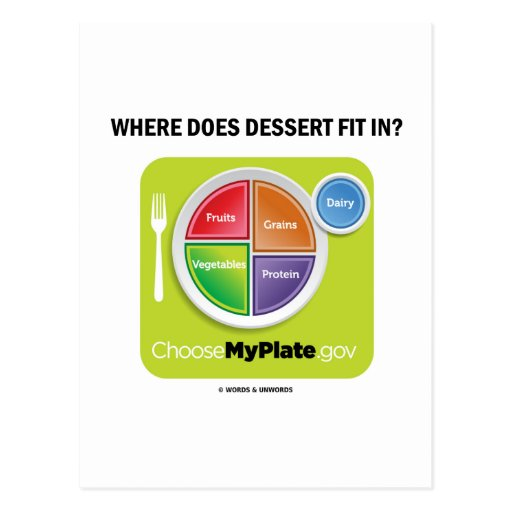 Where Does Dessert Fit In? (MyPlate Humor) Post Card