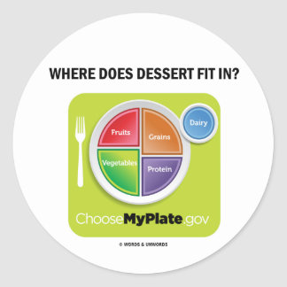 Where Does Dessert Fit In MyPlate Humor Round Stickers
