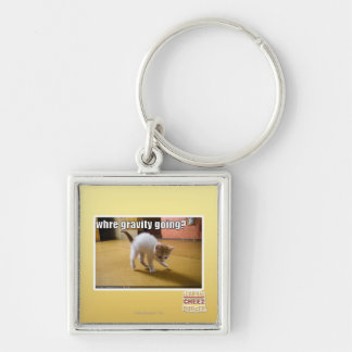Where gravity going? Silver-Colored square key ring