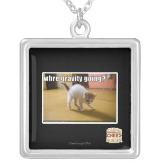 Where gravity going? silver plated necklace