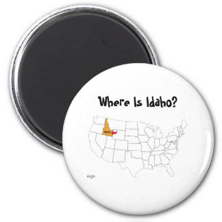 Where Is Idaho? 6 Cm Round Magnet