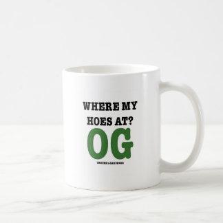 Where My Hoes At (original gardener green) Basic White Mug