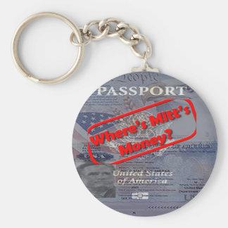 Where's Mitt's Money? Basic Round Button Key Ring