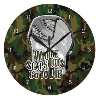 Where Slapshots Go To Die (Hockey) Large Clock