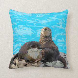 Where the River Meets the Sea Otters Cushion