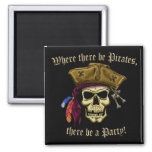 Where There Be Pirates Square Magnet