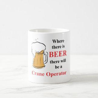 Where there is Beer - Crane Operator Basic White Mug