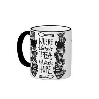 where there s tea there s hope ringer mug mono