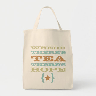 where there's tea there's hope grocery tote bag 2