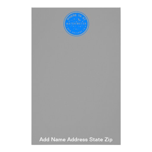 Where Yat  New Orleans Water Meter Cover Blue, ... Stationery Design