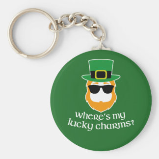 Where's My Lucky Charms? St Patrick Day Leprechaun Basic Round Button Key Ring
