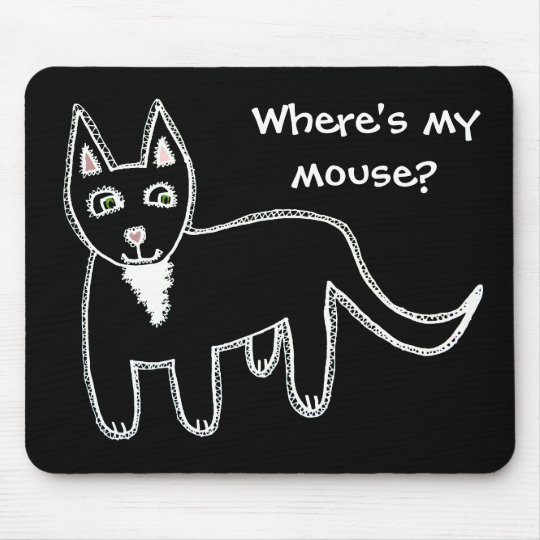 Where's my mouse? Black Cat Mouse Mat