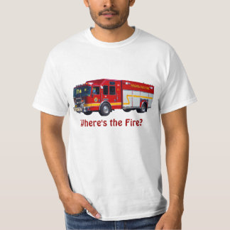 """Where's the Fire?"" Red Fire Engine Fun T-Shirt"