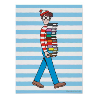 Where's Waldo Carrying Stack of Books Posters