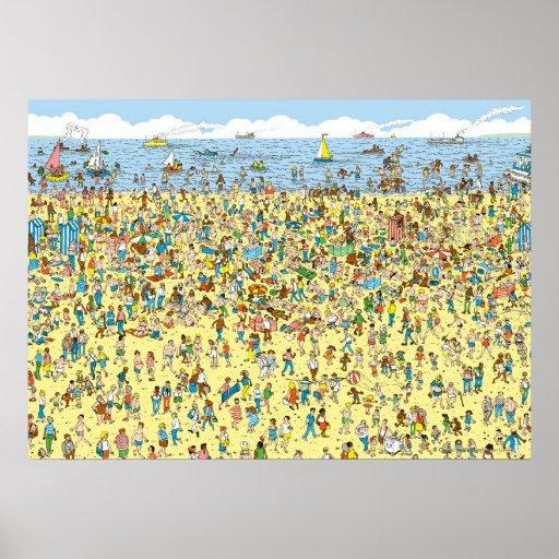 Where's Waldo on the Beach Posters