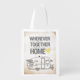 Wherever We Are Together | Vintage Trailer Reusable Grocery Bag