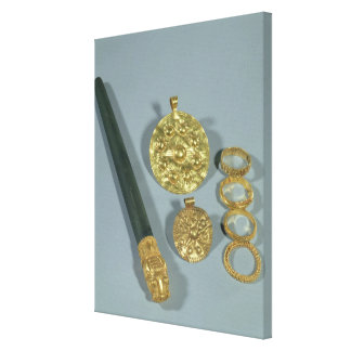Whetstone and rings with granulated decoration, Su Stretched Canvas Print