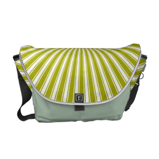 Whhite and Lime Funky Striped Abstract Art Courier Bags