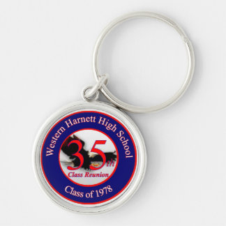 WHHS 35th reunion logo Silver-Colored Round Key Ring