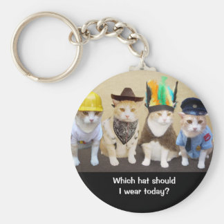 Which Hat? Basic Round Button Key Ring