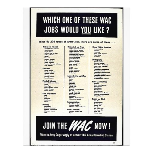 Which One Of These Wac Jobs Would You Like? Flyer Design