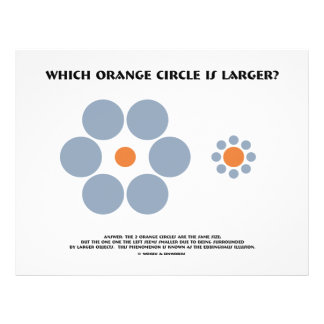 Which Orange Circle Is Larger? (Optical Illusion) 21.5 Cm X 28 Cm Flyer