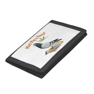 Which Way is Home? Fun Pigeon Art Tri-fold Wallets