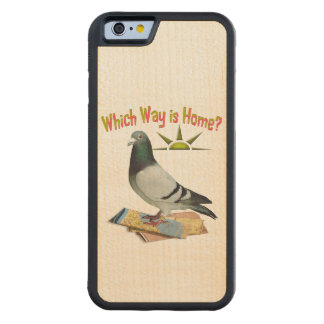 Which way is Home? Fun Pigeon Wood Phone Case