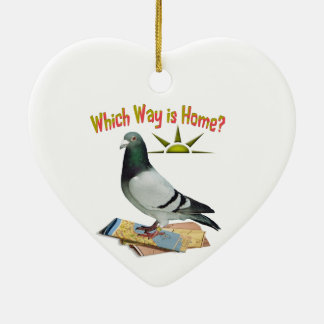 Which Way is Home? Pigeon Art Ceramic Heart Decoration