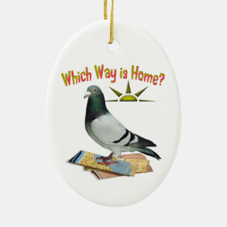 Which Way is Home? Pigeon Art Ceramic Oval Decoration