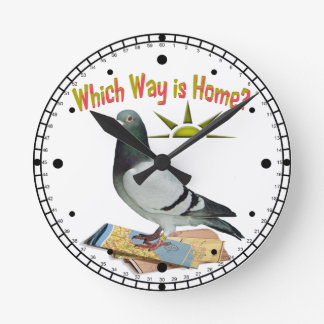 Which Way is Home? Pigeon Art Wall Clock