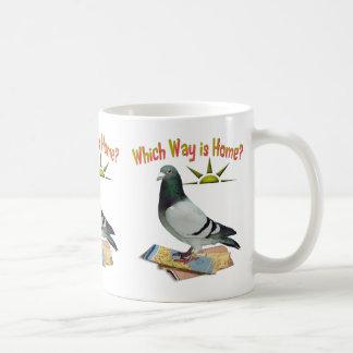 Which Way is Home? Pigeon Art Basic White Mug