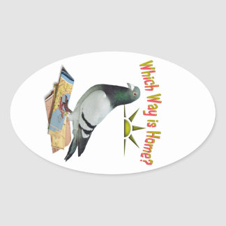 Which Way is Home? Pigeon Art Oval Sticker