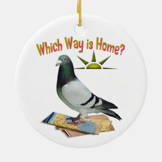 Which Way is Home? Pigeon Art Round Ceramic Decoration