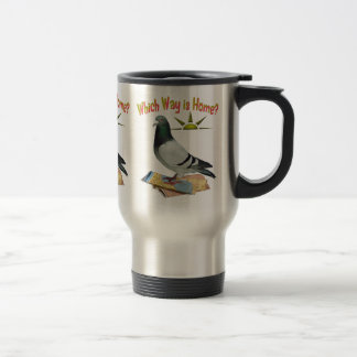Which Way is Home? Pigeon Art Travel Mug