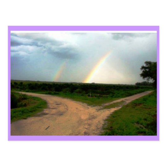 WHICH WAY NOW, DOUBLE RAINBOW AT CROSSROADS POSTCARD