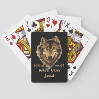 """Which wolf will you feed"" Inspirational Wolf Art Playing Cards"