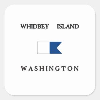 Whidbey Island Washington Alpha Dive Flag Square Sticker