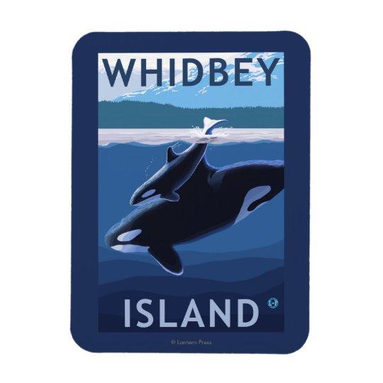 Whidbey Island, WashingtonOrca and Calf Rectangular Photo Magnet