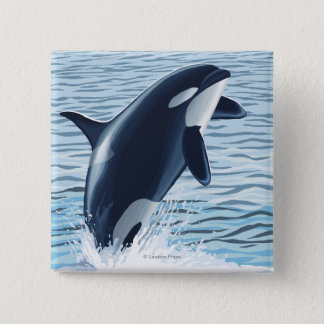 Whidbey Island, WashingtonOrca Jumping 15 Cm Square Badge